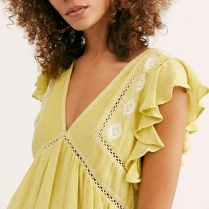 Free People Falling Water Embroidered Tunic Top